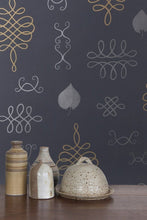 Load image into Gallery viewer, After Chinterwink Silver and Gold on Charcoal Wallcovering