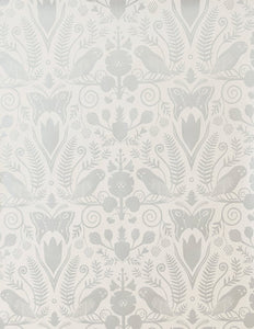 Barn Owls and Hollyhocks by Carson Ellis - Diamonds and Pearls on Cream Wallcovering