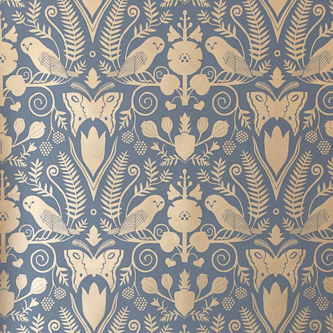 Barn Owls and Hollyhocks by Carson Ellis - Gold on Charcoal Wallcovering