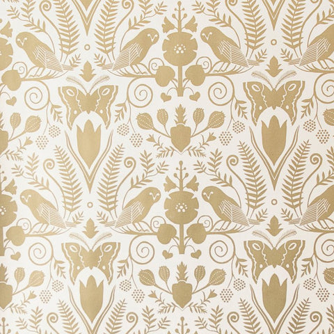 Barn Owls and Hollyhocks by Carson Ellis - Gold on Cream Wallcovering