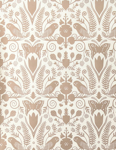 Barn Owls and Hollyhocks by Carson Ellis - Rose Gold on Cream Wallcovering