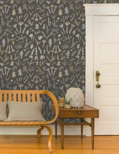 Load image into Gallery viewer, Cle Elum Silver and Gold on Charcoal Wallcovering