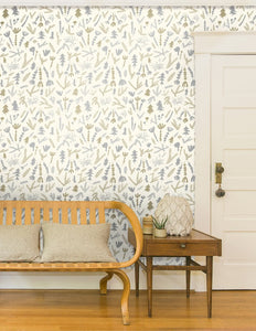 Cle Elum Silver and Gold on Cream Wallcovering