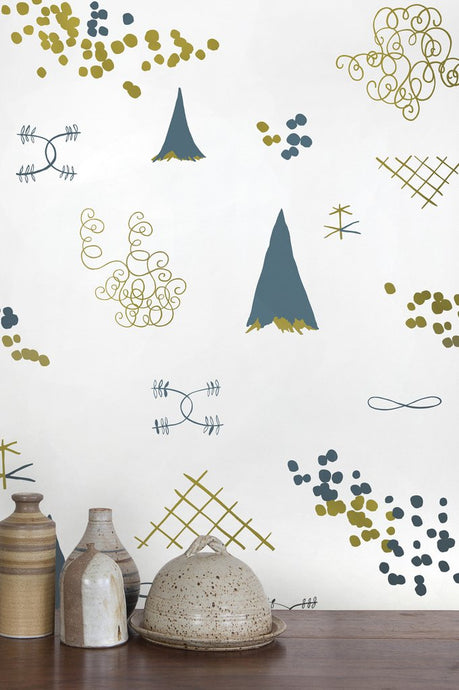 Family Reunion Aquatic and Gold  Wallcovering