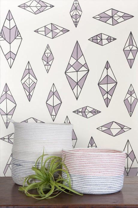 Indian Summer Charcoal and Lilac on Cream Wallcoverning