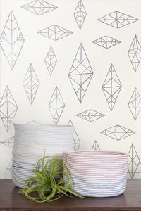 Indian Summer Silver and White on Cream Wallcoverning