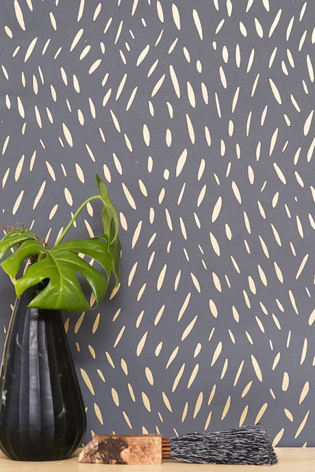 Palea Gold on Charcoal Wallcovering