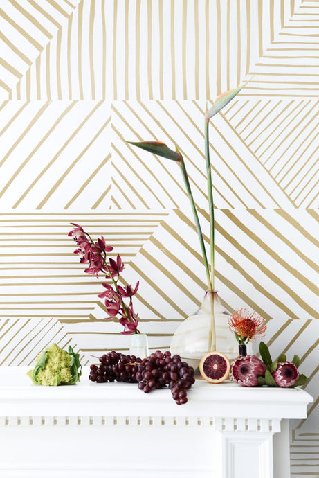 Parquet- Gold on Cream Wallcovering