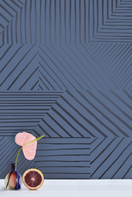 Parquet- Gunmetal on Navy Wallcovering