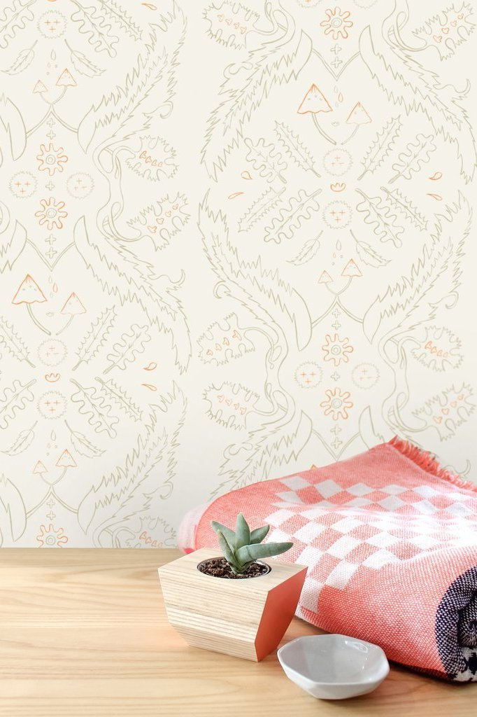 Salad Days Straw and Gloaming Neon Orange on Cream Wallcovering