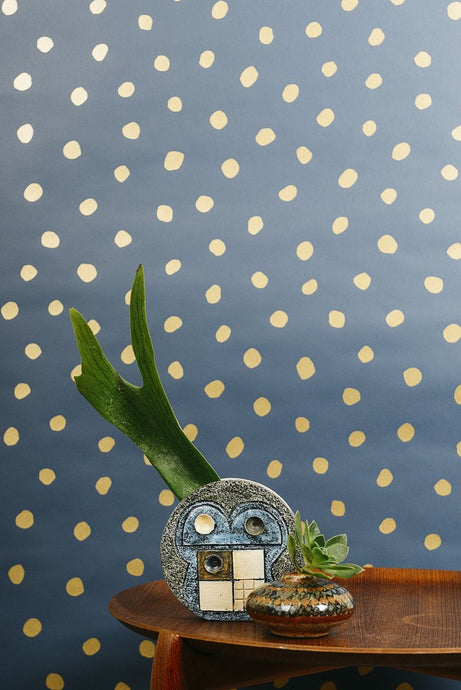Sisters of The Sun Gold on Navy Wallcovering