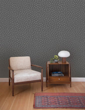 Load image into Gallery viewer, Sisters of The Sun Gunmetal on Charcoal Wallcovering