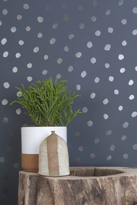 Sisters of The Sun Gunmetal on Charcoal Wallcovering