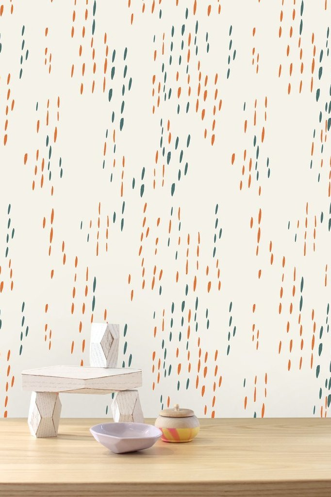 The Sou'Wester Aquatic and Gloaming Neon Orange Wallcovering
