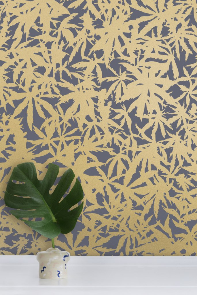 Wild Thing- Gold on Charcoal Wallcovering