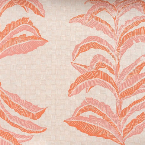 Banana Leaf Coral Pink Wallcovering