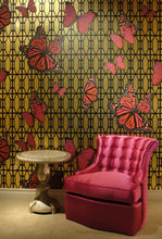 Load image into Gallery viewer, Butterflies On Gate Magenta on Brushed Gold Type ll Wallcovering