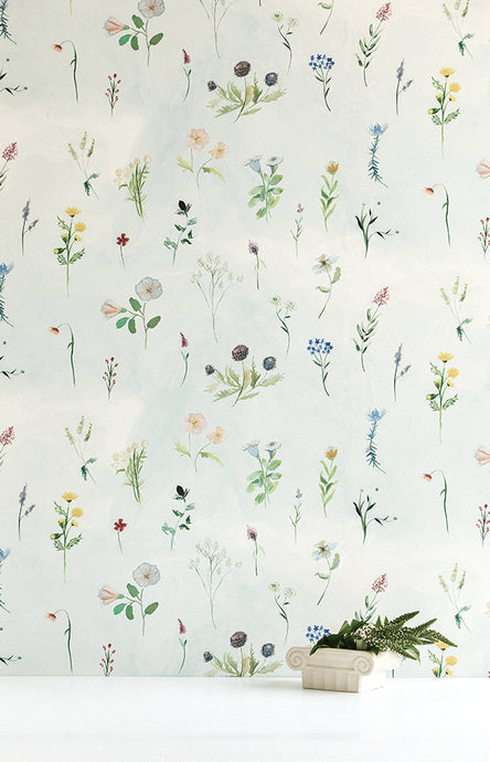 Meadow Bluestocking Painted Floral Wallpaper