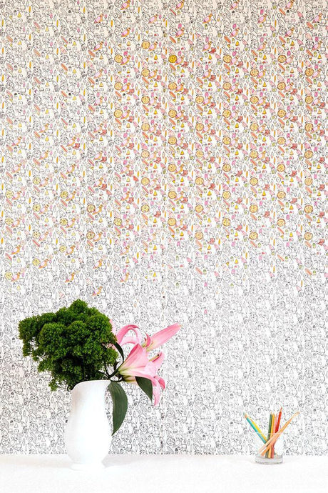 Pigeon Pizza Party Mozzarella Wallcovering
