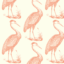 Load image into Gallery viewer, Blue Heron Coral Eggshell Fabric
