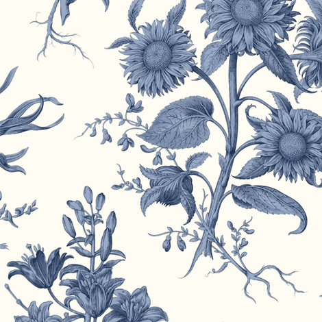 Sunflower Toile Blue White Wallcovering