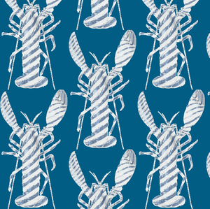 Lobster Stripe Summer Blues Wallcovering