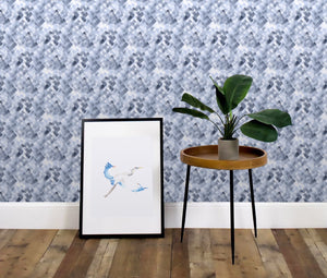 Crosshatch Blue Wallcovering