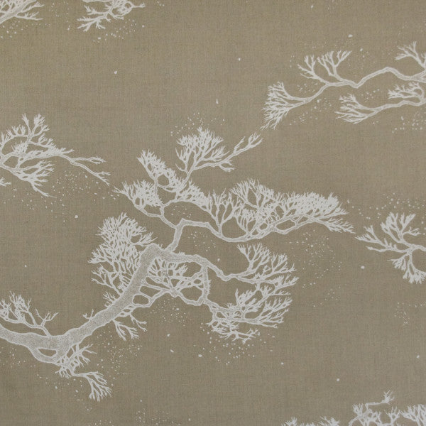 chinese trees white cream natural fabric