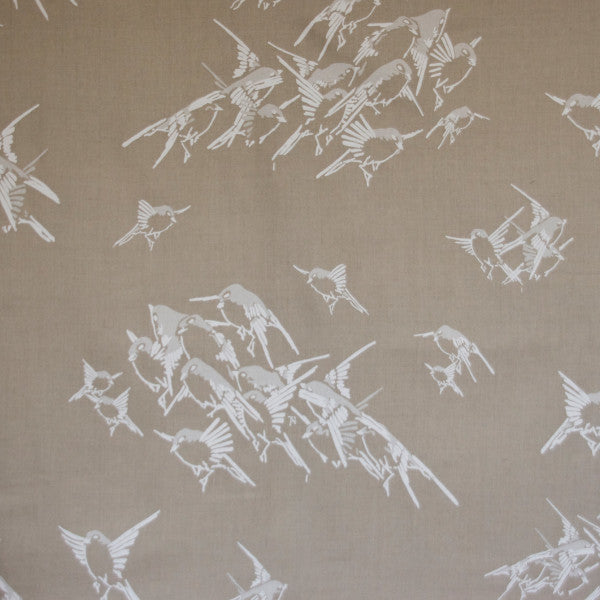 japanese sparrows cream natural fabric