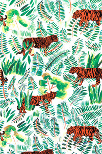 Burma Vetiver Tiger Wallcovering