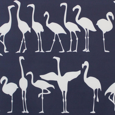 Flamingo Parade Navy Reverse Fabric
