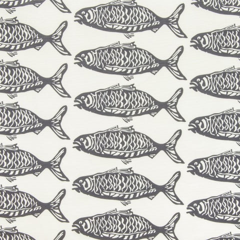 School O Fish Gray Fabric