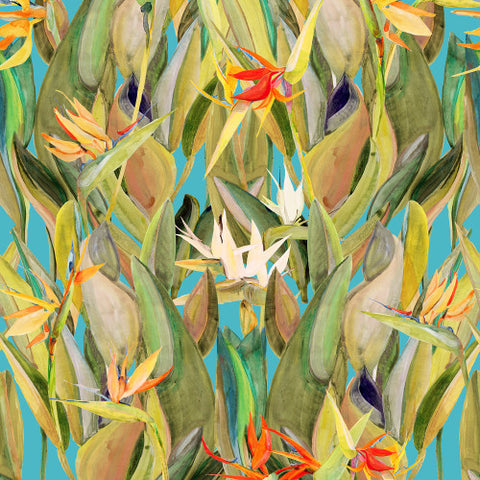Birds Of Paradise Blue  Wallcovering