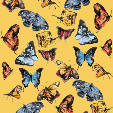Butterflies Pumpkin Wallcovering