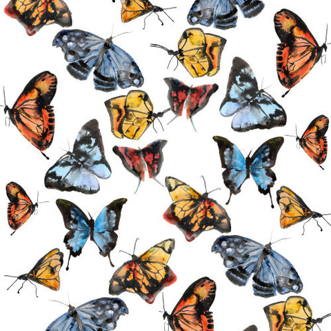 Butterflies White  Wallcovering