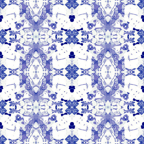 Chinese Print Blue and White Wallcovering