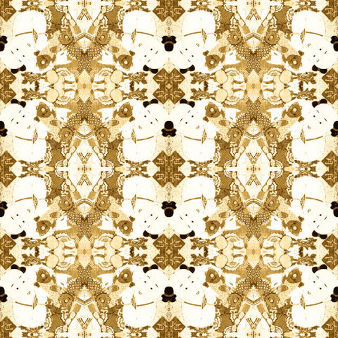 Chinese Print Gold and White  Wallcovering