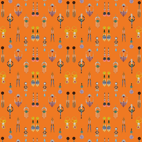 Earings Quadruple Orange Wallcovering