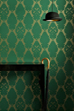 Load image into Gallery viewer, Boxing Hares - Billiard Green Wallcovering