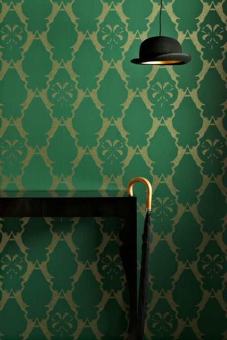 Boxing Hares - Billiard Green Wallcovering