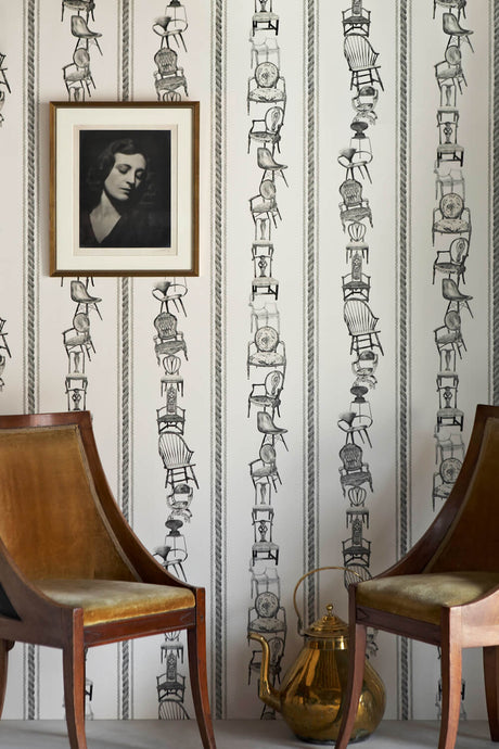 Chairs - Black On Parchment Wallcovering