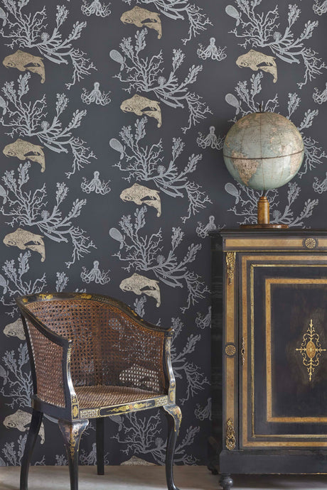 Coral - Charcoal Gold Wallcovering