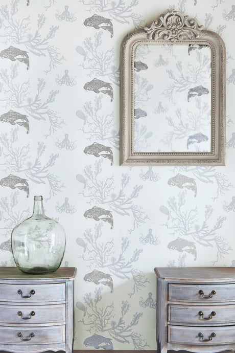 Coral - Pale Grey Silver Wallpaper