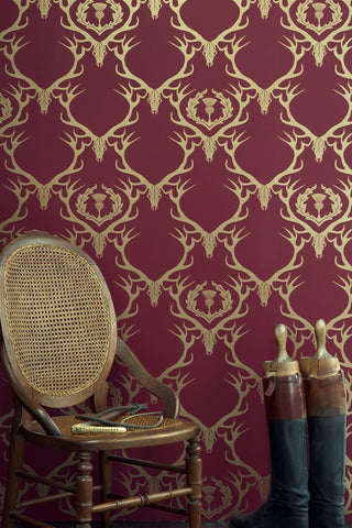 Deer Damask - Claret Gold Wallpaper