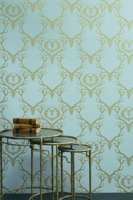 Deer Damask - Duck Egg Blue Antique Gold Wallpaper