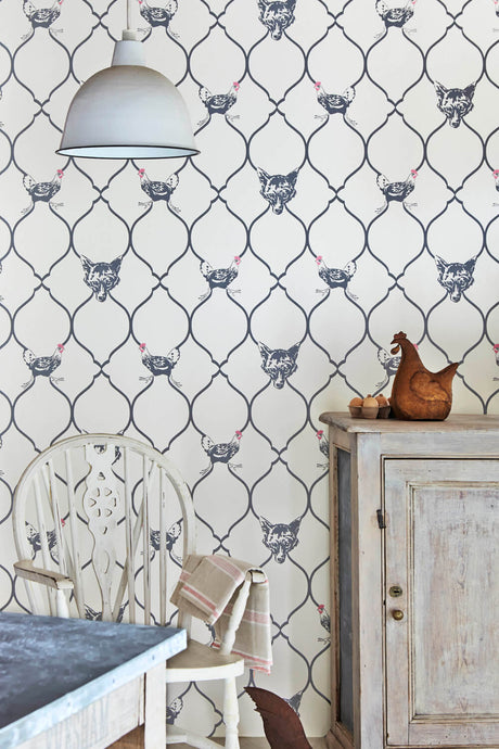 Fox & Hen - Charcoal On Parchment Wallcovering