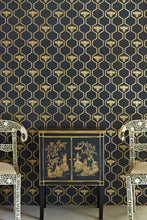 Load image into Gallery viewer, Honey Bees - Gold On Charcoal Wallcovering