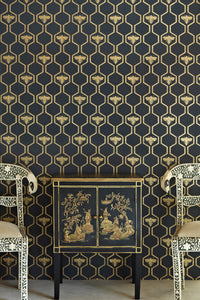 Honey Bees - Gold On Charcoal Wallcovering
