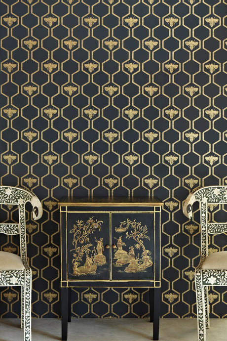 Honey Bees - Gold On Charcoal Wallpaper