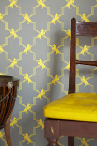 Horse Trellis - Acid On Grey Wallpaper